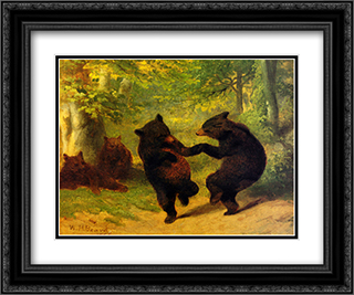 Dancing Bears 2x Matted 21x18 Black Ornate Framed Art Print by William Beard