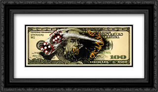 $100 Bill with Dice 2x Matted 20x11 Black Ornate Framed Art Print by Michael Godard