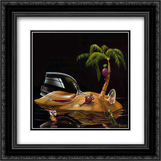 Lost in Paradise 2x Matted 16x16 Black Ornate Framed Art Print by Michael Godard