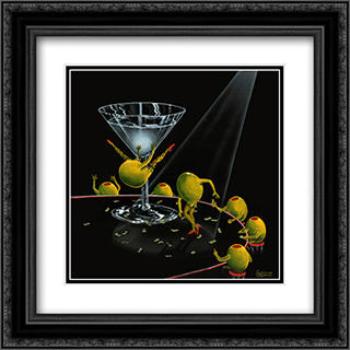Even Dirtier Martini 2x Matted 16x16 Black Ornate Framed Art Print by Michael Godard