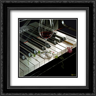 The Key to Wine 2x Matted 16x16 Black Ornate Framed Art Print by Michael Godard