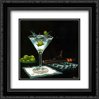 Olive Party II 2x Matted 16x16 Black Ornate Framed Art Print by Michael Godard
