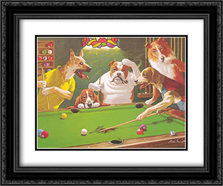 Jack the Ripper / Dogs Playing Pool 2x Matted 24x20 Black Ornate Framed Art Print by Arthur Sarnoff