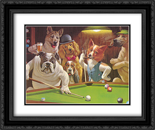 The Hustler / Dogs Playing Pool 2x Matted 24x20 Black Ornate Framed Art Print by Arthur Sarnoff
