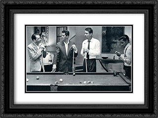 Rat Pack - Pool 24x18 Black Ornate Framed and Double Matted Art Print by Movie Poster