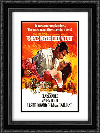 Gone with the Wind 18x24 Black Ornate Framed and Double Matted Art Print by Movie Poster