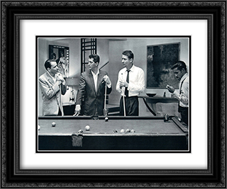 Rat Pack Playing Pool 24x20 Black Ornate Framed and Double Matted Art Print by Movie Poster