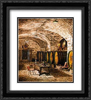 Wine Cellar #1 2x Matted 20x24 Black Ornate Framed Art Print by Giansi