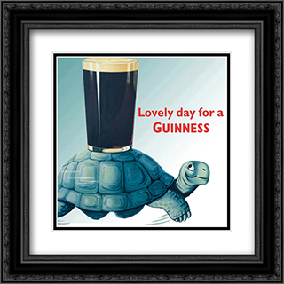 Guinness: Turtle 2x Matted 20x20 Black Ornate Framed Art Print