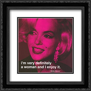 Marilyn Monroe: Definitely a Woman Quote 2x Matted 20x20 Black Ornate Framed Art Print