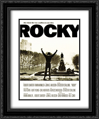Rocky Movie Score 20x24 Black Ornate Framed and Double Matted Art Print by Movie Poster