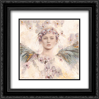 Air de printemps II 2x Matted 16x16 Black Ornate Framed Art Print by Elvira Amrhein
