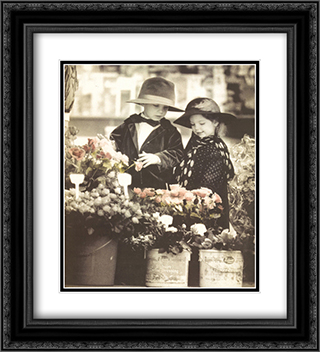 Flower Shopping 2x Matted 20x24 Black Ornate Framed Art Print by Kim Anderson