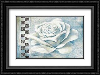 Silver Rose 2x Matted 24x20 Black Ornate Framed Art Print by Claudio Ancilotti