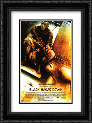 Black Hawk Down 18x24 Black Ornate Framed and Double Matted Art Print by Movie Poster