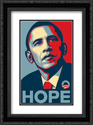 RARE Obama Campaign Poster - HOPE 18x24 Black Ornate Framed and Double Matted Art Print by Movie Poster