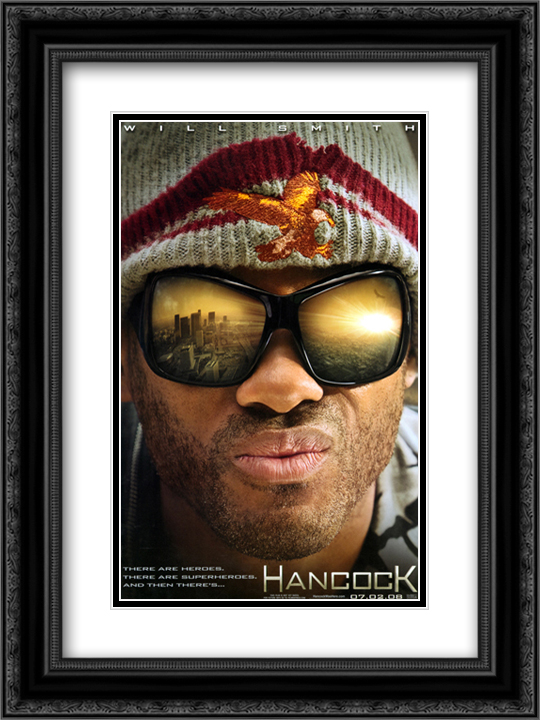 Hancock 18x24 Black Ornate Framed and Double Matted Art Print by Movie Poster