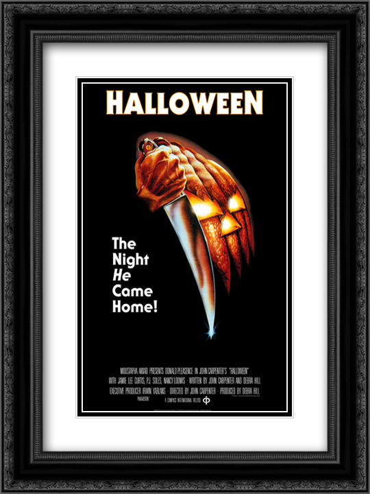 Halloween 18x24 Black or Gold Ornate Framed and Double Matted Art Print by Movie Poster