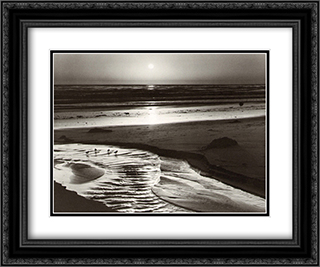 Birds on a Beach 2x Matted 24x20 Black or Gold Ornate Framed Art Print by Ansel Adams