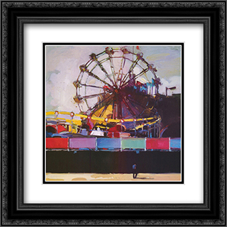 Boardwalk Colors 2x Matted 17x17 Black or Gold Ornate Framed Art Print by Francis Livingston