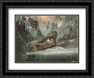 Upward Pull 2x Matted 24x20 Black or Gold Ornate Framed Art Print by Ted Blaylock