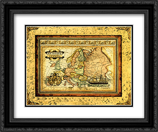 Crackled Map Of Europe 2x Matted 23x17 Black or Gold Ornate Framed Art Print by Deborah Bookman