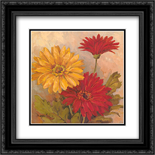 Gerber Daisies II 2x Matted 17x17 Black or Gold Ornate Framed Art Print by Barbara Mock