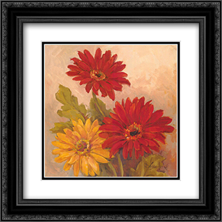 Gerber Daisies I 2x Matted 17x17 Black or Gold Ornate Framed Art Print by Barbara Mock