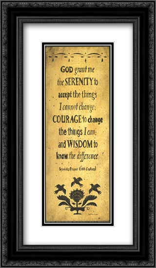 The Serenity Prayer 2x Matted 12x24 Black or Gold Ornate Framed Art Print by Donna Atkins