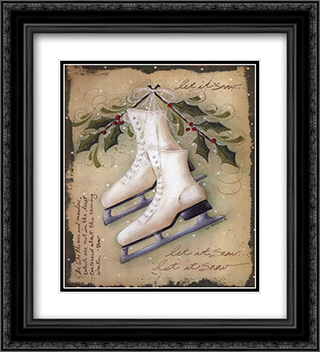 Vintage Ice Skates 2x Matted 16x22 Black or Gold Ornate Framed Art Print by Jill Ankrom