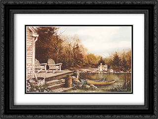 By the Lake 2x Matted 24x18 Black or Gold Ornate Framed Art Print by John Rossini