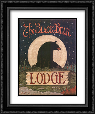 The Black Bear Lodge 2x Matted 20x24 Black or Gold Ornate Framed Art Print by Jay Zinn