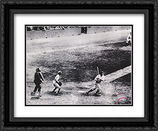 Babe Ruth, 1927 60th Home Run 2x Matted 24x20 Black or Gold Ornate Framed Art Print
