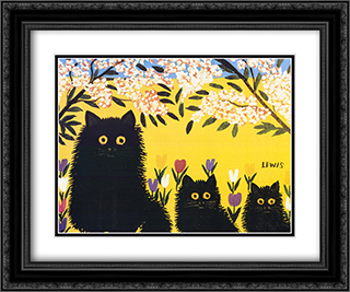 Three Black Cats 2x Matted 22x18 Black or Gold Ornate Framed Art Print by Maud Lewis