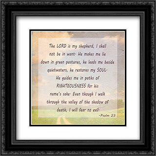 The Lord is my Shepherd 2x Matted 18x18 Black or Gold Ornate Framed Art Print