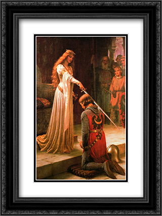 The Accolade 2x Matted 20x24 Black or Gold Ornate Framed Art Print by Edmund Blair Leighton