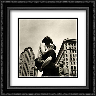 The Kiss (NYC) 2x Matted 20x20 Black or Gold Ornate Framed Art Print by Matthew Alan