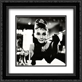 Audrey Hepburn In Breakfast at Tiffany's 2x Matted 20x20 Black or Gold Ornate Framed Art Print