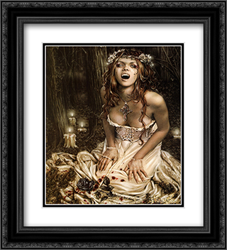 Vampire Girl 2x Matted 20x24 Black or Gold Ornate Framed Art Print by Victoria Frances