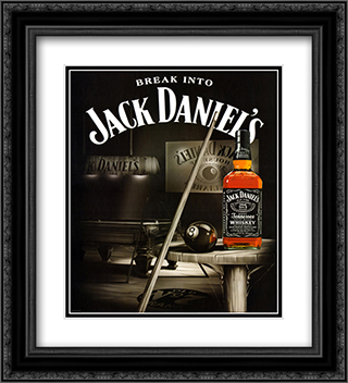 Jack Daniel's (Pool Room) 2x Matted 20x24 Black or Gold Ornate Framed Art Print