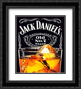 Jack Daniel's on the Rocks 2x Matted 20x24 Black or Gold Ornate Framed Art Print