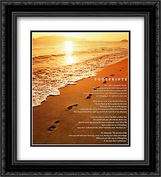 Footprints 2x Matted 20x24 Black or Gold Ornate Framed Art Print