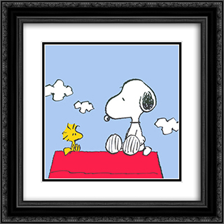 Peanuts (Snoopy & Woodstock) 2x Matted 20x20 Black or Gold Ornate Framed Art Print by Bill Melendez