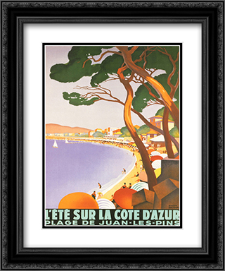 L'Ete Sur la Cote D'Azur 2x Matted 20x24 Black or Gold Ornate Framed Art Print by Rodger Broders