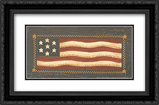 American Flag 2x Matted 24x14 Black or Gold Ornate Framed Art Print by Jo Moulton