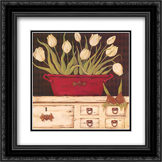 White Cupboard 2x Matted 20x20 Black or Gold Ornate Framed Art Print by Jo Moulton