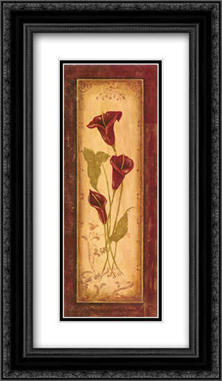 Crimson Blooms I 2x Matted 12x24 Black or Gold Ornate Framed Art Print by Jo Moulton