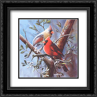 Cardinal 2x Matted 16x16 Black or Gold Ornate Framed Art Print by Kevin Daniel