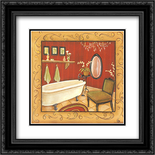 Red Bathroom Tub 2x Matted 16x16 Black or Gold Ornate Framed Art Print by Kim Lewis