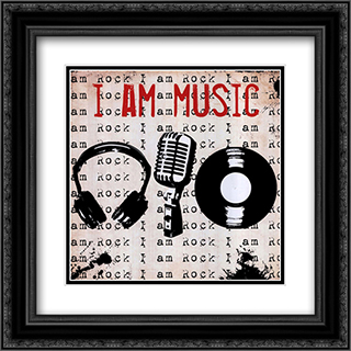 I Am Music 2x Matted 16x16 Black or Gold Ornate Framed Art Print by Louise Carey